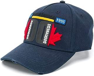 DSQUARED2 Men's Accessories Multicolor Logo Navy Blue Baseball Cap FW 19-20