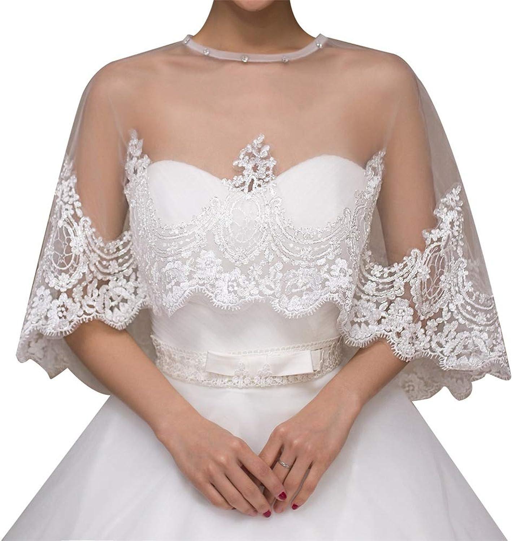 Embroidered Shawl Shrug Bridal Bolero Jackets Lace Shawl Shrug Bridal Bolero Jackets for Women Weddiing Dress Decoration Weddiing Dress Decoration (color   White, Size   Free Size)