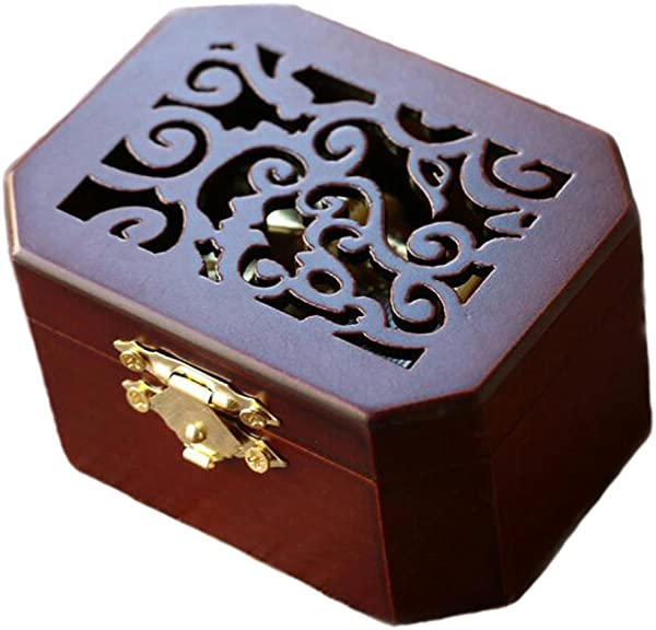 Antique Engraved Wooden Wind Up Musical Box Moon River Musical Box With Gold Plating Movement In Octagonal