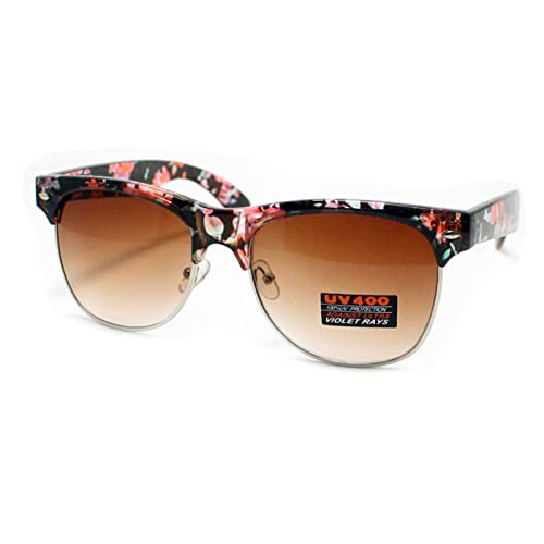 5c0bd7e8b3 Flower Floral Print Sunglasses Womens Fashion Square Keyhole Frame