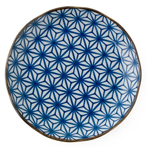 Japanese Blue and White Geometric 10' Dinner Plate