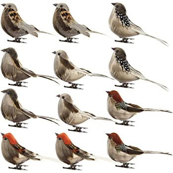 MagiDeal 12pieces Modelo de Pájaro Artificial Pluma de Pájaros Arbolado Decoración Jaulas Ornamentos Hogar: Amazon.es: Hogar