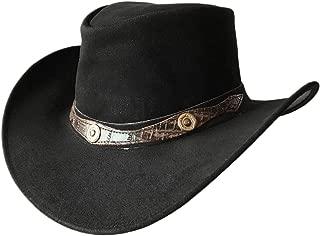 BRANDSLOCK Mens Suede Leather Cowboy Aussie Style Down Under Hat Wide Brim