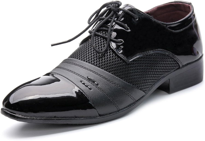 XIANGBAO-Persönlichkeitsfall Einfache Männer Business Schuhe Glatt PU Leder Splice Obere Lace Up Atmungsaktive Mesh Oxfords  | Viele Sorten
