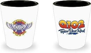 Q102 and KZEW Texas Best Rock Shot Glass Dallas Texas Classic Rock Shotglass Set of 2