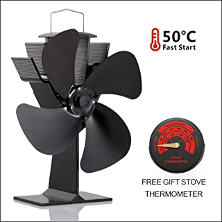 CRSURE Wood Stove Fan and Free Stove Thermometer,Blows Heat Up to 300 f/m- No Electronic Required -+ 50°c Start Silent 4-Blade Heat Powered Stove Fan for Log Burner (SF-444)
