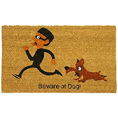 Rubber-Cal  Beware of Dog Welcome Mat Funny Welcome Mat, 18 x 30-Inch