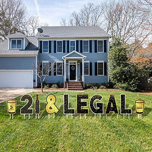 Party Drop Props LLC 21&Legal Happy Birthday Large Lawn Letters - Gold Neutral Colors for Boy & Girl - Decoration for 21st Birthday