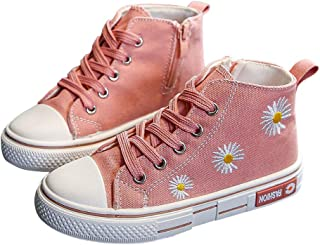 Hopscotch Girls Canvas Applique Floral Fixed Lace Sneaker in Pink Color