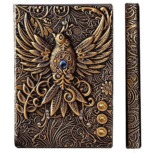 YHH Notizbuch A5 Liniert Hardcover, Vintage Leder Tagebuch Liniert Buch Reisetagebuch Lined Journal Notebook, Handgemachtes, 200 Seiten, GeburtstagGeschenk für Erwachsene Kinder, 3D Phönix Bronze
