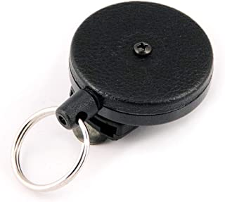 KEY-BAK Original Retractable Key Holder with a Black Front, Removable Rotating Belt Clip, Split Ring and Made in the USA