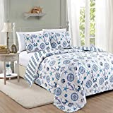 Great Bay Home Azure Coastal Collection 3 Piece Quilt Set with Shams. Reversible Beach Theme Bedspread Coverlet. Machine Washable. (Full/Queen)