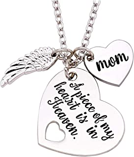 Memorial Necklace A Piece of My Heart is in Heaven Memorial Dad Mom Necklace Loss of Father Gift