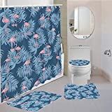 MQWEMJ Juego de 4 Cortinas de Ducha, Pájaro Animal Rojo Azul con alfombras Antideslizantes, Tapa de Inodoro y Alfombrilla de baño, Cortina de Ducha, Tela Impermeable 150×180 cm