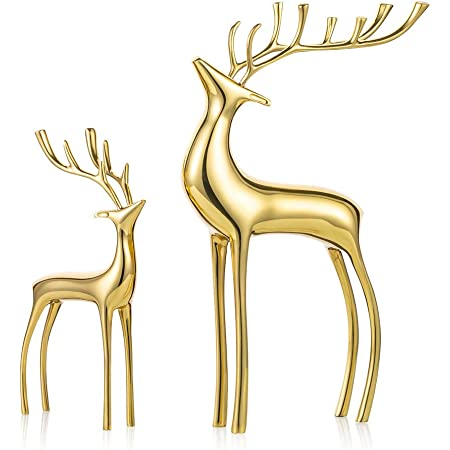 Sziqiqi Reindeer Figurine Statues Deluxe Set Of 2 Christmas Deer Pure Copper Heavy Reindeer Ornaments For Home Decor Accents Living Room Office Bookself Tabletop Mantle Christmas Decoration Gold Kitchen Dining