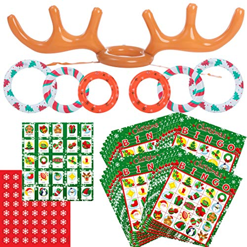 Inflatable Antlers Toss Game Combo Set, Reindeer Antler toss Game Combo Game Set for Christmas Party, One Size fit All (Bingo Set)
