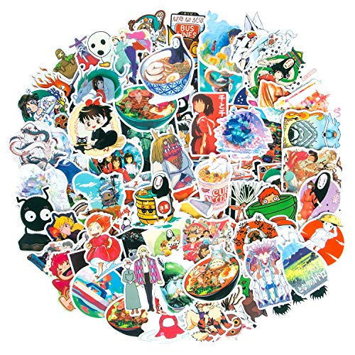 100Pcs Anime Stickers Animation Film Theme Stickers, Spirited Away No Face Man My Neighbor Totoro Waterproof Laptop Stickers for Teens, Skateboard Stickers Luggage Decal