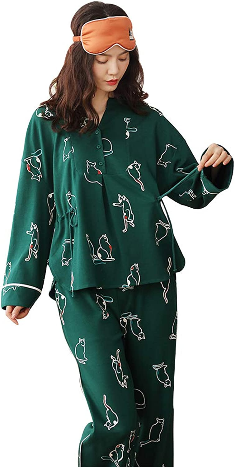 Cotton Pajamas Female Autumn Long Sleeve Fashion Cartoon Cute Home Clothing Loose Comfortable Clothes (color   Green, Size   L)