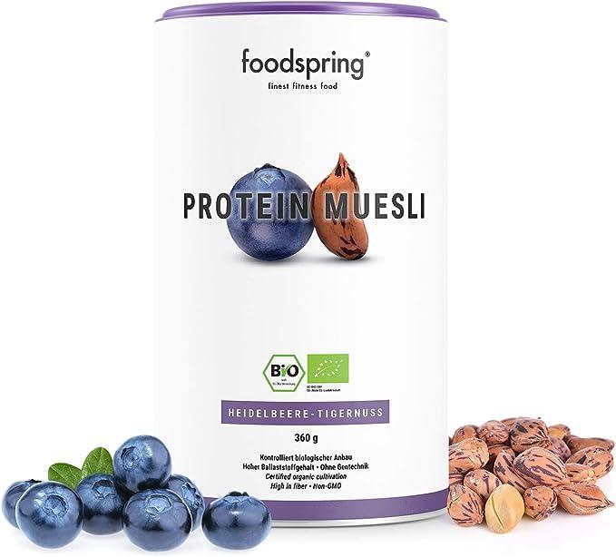 452 opinioni per foodspring Muesli Proteico, Mirtilli-Mandorle di terra, 360g, Ingredienti bio al