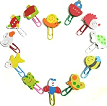Wood Bookmarks DIY Paperclips Cute Painted Animals bookmarkers,12 Pcs