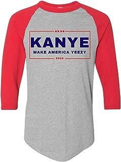 LiberTee Kanye West 2020 Baseball Tshirt, Donald Trump and Kanye Keep America, 3/4 Sleeve Shirt Men and Women