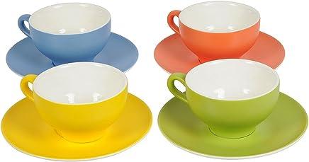 Preisvergleich für Tasse und Untertasse 220ml Porzellan Kaffeebecher (Gelb)