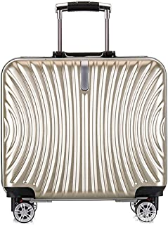 """SRY-Luggage ABS + PC Durable Convenient Trolley Case, Boarding Mute Travel Case,Wheels Travel Rolling Boarding,18"""" Inch Carry on Luggage (Color : Gold)"""