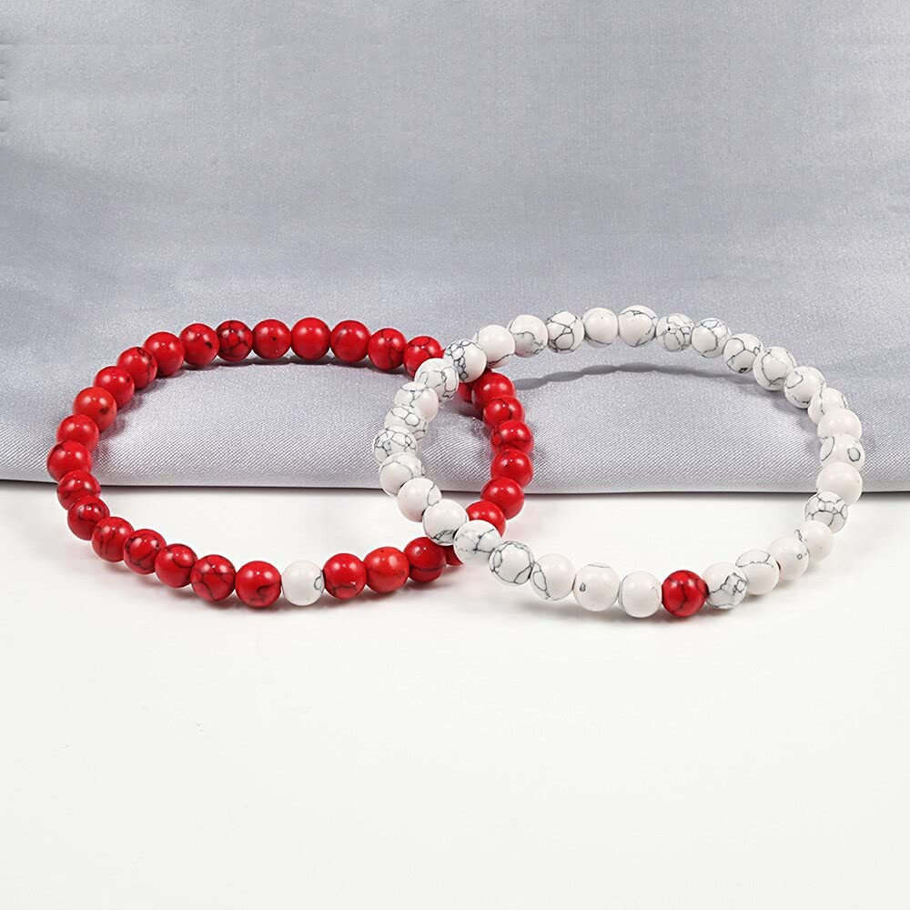 TranTran NTP Couple Distance Bracelet Red Turquoises Black Matte Natural Stone Men Bangle 6mm Elastic Rope Beaded Bracelets for Women Jewelry