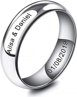 2~10mm El Tono De Plata Acero Inoxidable Anillo Ring Banda Venda Alianzas Boda Amor Love - Grabado Personalizado