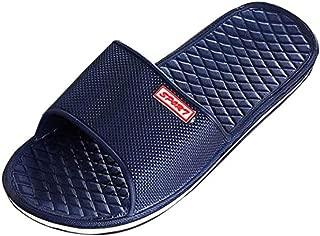 Gotd Boy Men Solid Flat Bath Slippers Flip Flop Wedge Sandals Slide Platform Thongs Open Toe Soft Indoor Outdoor Beach Shoes Bathroom Shower (US:8.5, Dark Blue)