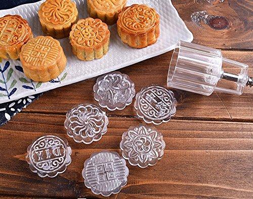 Mrs.L Store 月餅モールド ムーンケーキの型 ケーキモールド ベーキングモールド 7本セット 金型1本+スタンプ6枚 中秋月餅 お菓子 クッキー ケーキ 円形 50g