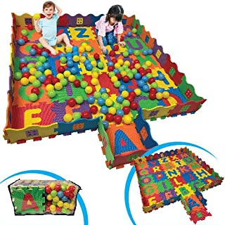 FUN n' SAFE (7175) Kid's ABC Play Mat and Ball Pit with 26 Interlocking Foam Tiles and 100 Balls