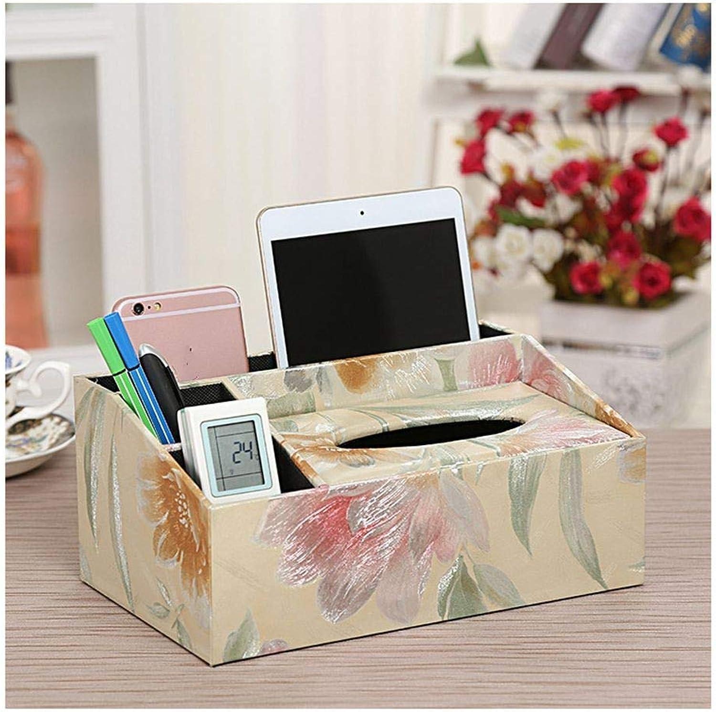 SHUCHANGLE Tissue Box Halter Kosmetiktücher-Box Multifunktionsspeicher Pu-Leder Einfaches Botanisches Blaumenmuster Fernbedienung-Aufbewahrungsbox Für Wohn-Wohnzimmertisch B07NSS3N9C
