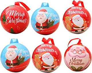 Cabilock 6 Pcs Christmas Treat Box Xmas Santa Claus Printed Iron Art Round Ball Candy Sweets Chocolate Packing Container X...