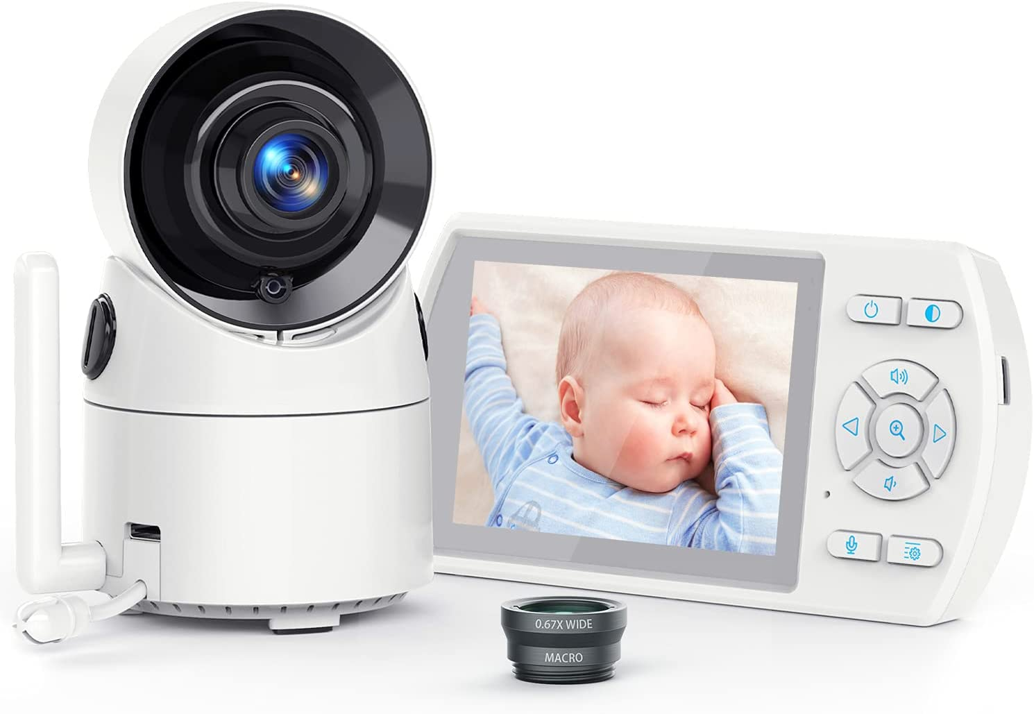 Baby Monitor with Camera and Audio, Interchangeable Optical Lens 355° Remote Pan VOX Mode, 3.5