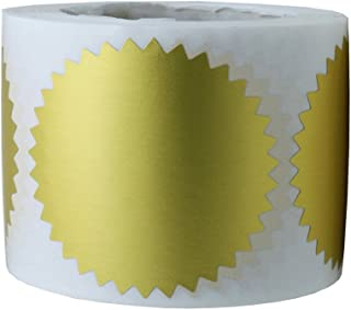 "2"" Gold Certificate Wafer Seals Labels/Envelope Package Seals Serrated Edge Color Coding Labels Stickers (300 per roll)"