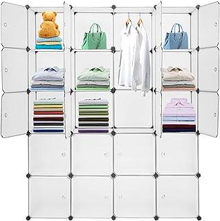 Sebastianee 20 Cubes Armoire Portable DIY, Plastique Penderie, Cube de Rangement pour Vêtements, Chaussures, Accessoires, ...