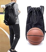 Drawstring Gym Bag Large Capacity Environmental Protection Waterproof Travel Tote Shoulder Backpack School Rucksack with Large Zip Pocket for Teens Adults