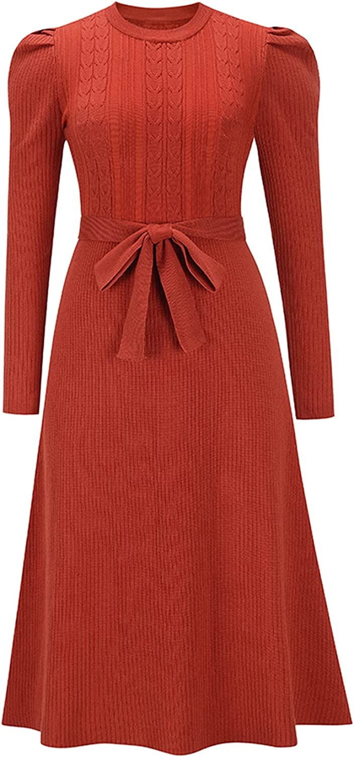 LE-FU Women's Solid Elegant Dress Work Business Office Casual Round Neck Puff Long Sleeve Knit A-Line Midi Dress Plus Size