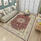 alfombras pie de Cama Alfombra roja, Anti-ácaro es fácil Limpiar la Alfombra Resistente al Desgaste Antibacteriano alfombras Infantiles habitacion -Rojo_120x140cm