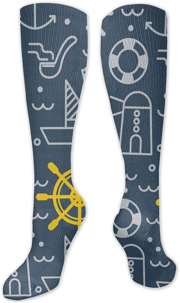 Blue Nautical Pattern Knee High Socks Leg Warmer Dresses Long Boot Stockings For Womens Cosplay Daily Wear