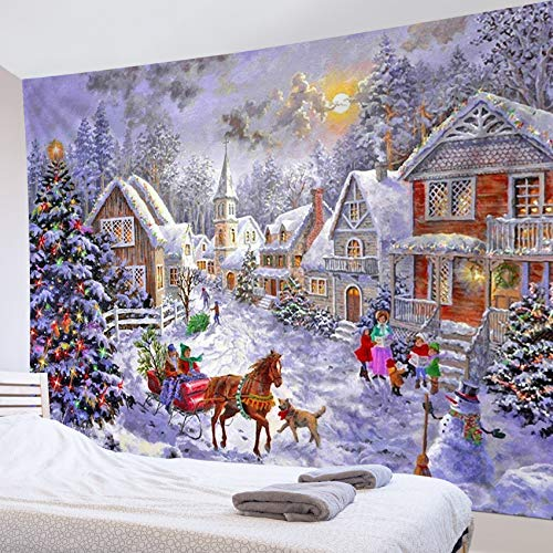 LB Christams Tapestry Winter Snow Scene Tapestry Wall Decor Christmas Trees Snowman Tapestry Wall Hanging for Bedroom Living Room Dorm Home Decor, 60 x 40 Inches