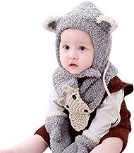 QinMM bebé Sombrero y Bufandas y Manoplas de Punto otoño Invierno niños niñas Beanie Gorras Conjunto