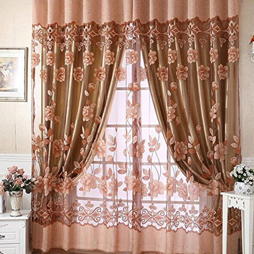 NioEsho Printed Lotus Sheer Curtains - 98
