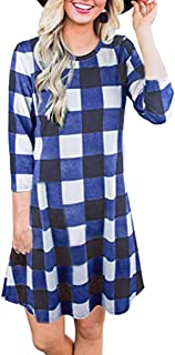 3/4 Sleeve Mini Dress Women Casual Plaid Printed Round Neck Simple Loose Dress