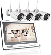 1080P Home Security Camera System Wireless with 12 Inch Monitor WiFi Surveillance NVR Kits, 4 Channel WiFi Video Security ...
