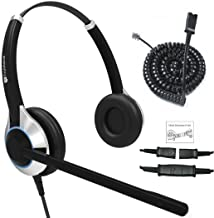 TruVoice HD-550 Deluxe Double Ear Headset with Noise Canceling Mic and Bottom Cable That Works with Mitel, Nortel, Avaya Digital, Polycom VVX, Shoretel, Aastra, Fanvil, Digium Phones