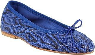 Leonardo Shoes Ballerine Donna Fatte a Mano Elle di Vitello Blu Stampa Pitone - Codice Modello: 6087 PITEN Marine