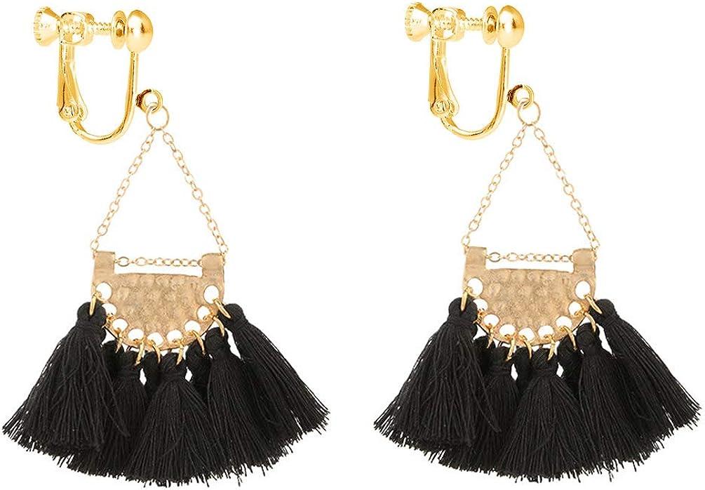 Bohemian Tassel Clip on Earring Black Thread Fringe Dangle Fan Shaped for Women Birthday Banquet Prom Party