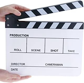 Professional Plastic Acrylic Clapboard Dry Erase Director Film Movie Clapper Board Slate 9.6 x 11.7